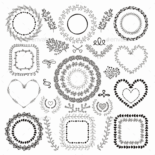 Hand-Drawn Floral Frames - Decorative Vectors