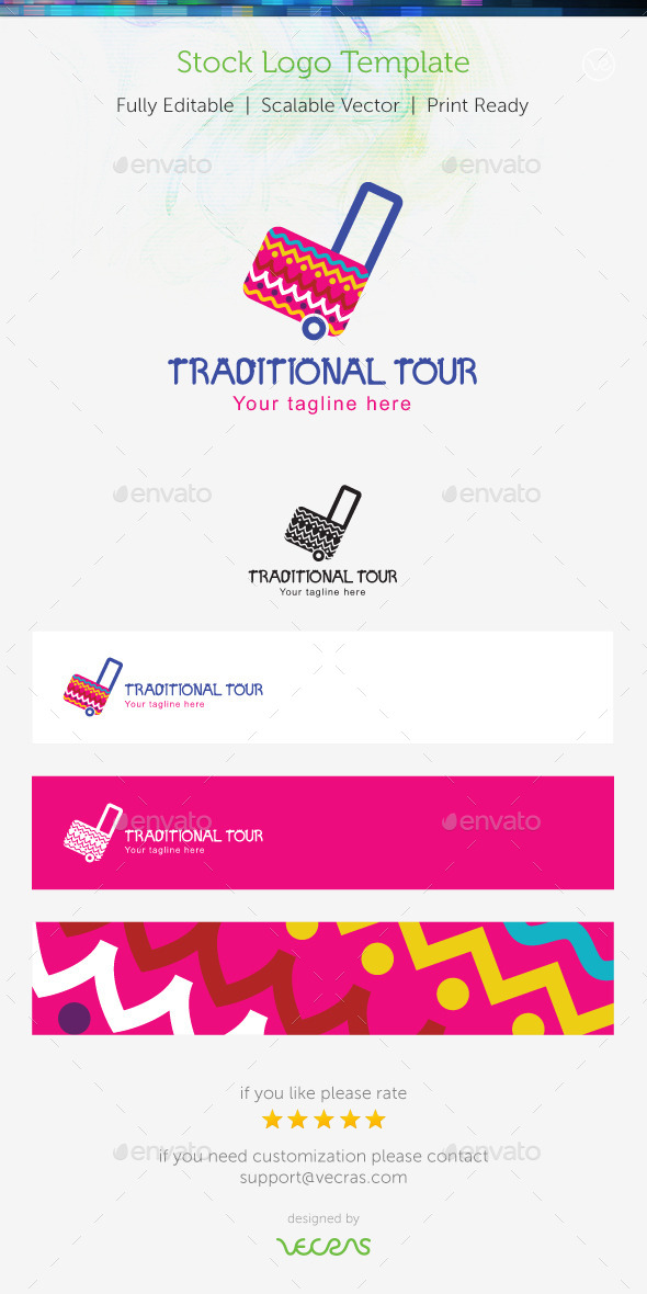 Traditional Tour Stock Logo Template - Objects Logo Templates