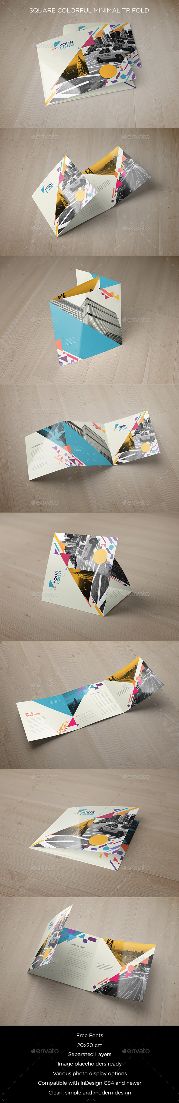 Square Colorful Shapes Trifold - Brochures Print Templates
