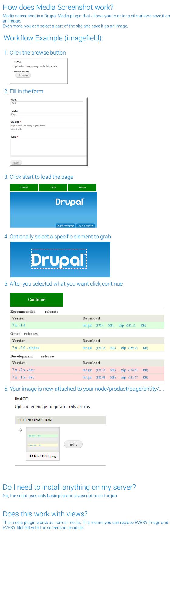 Drupal Media screenshot plugin