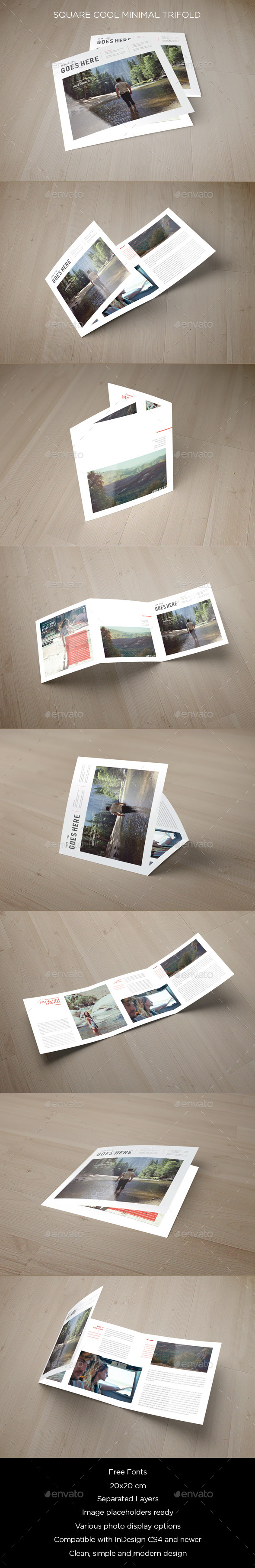 Square Cool Minimal Trifold - Brochures Print Templates