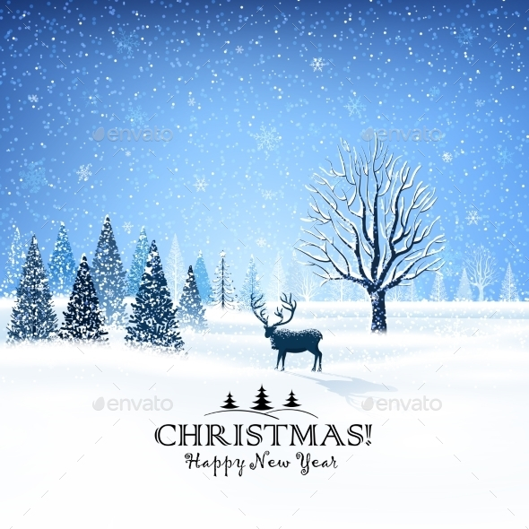 Christmas Card with Reindeer - Christmas Seasons/Holidays