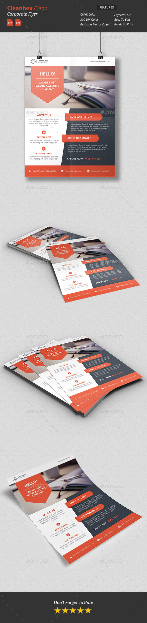Cleanhex - Clean Corporate Flyer v3 - Corporate Business Cards