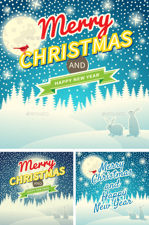 Set of Three Christmas Retro Greeting Cards - Holiday Greeting Cards
