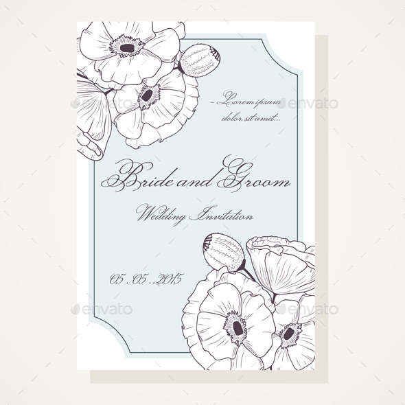 Wedding Shover with Outlined Poppies - Weddings Seasons/Holidays