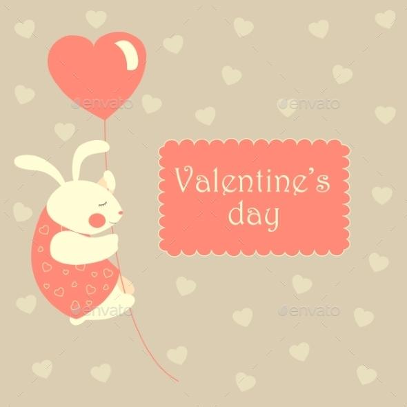 Rabbit Flying on a Heart Shaped Balloon - Valentines Seasons/Holidays