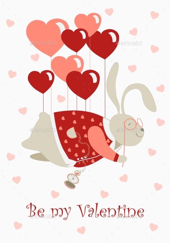 Rabbit with Heart Balloons - Valentines Seasons/Holidays
