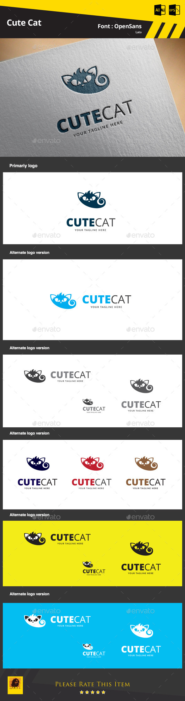 Cute Cat Logo Template - Animals Logo Templates