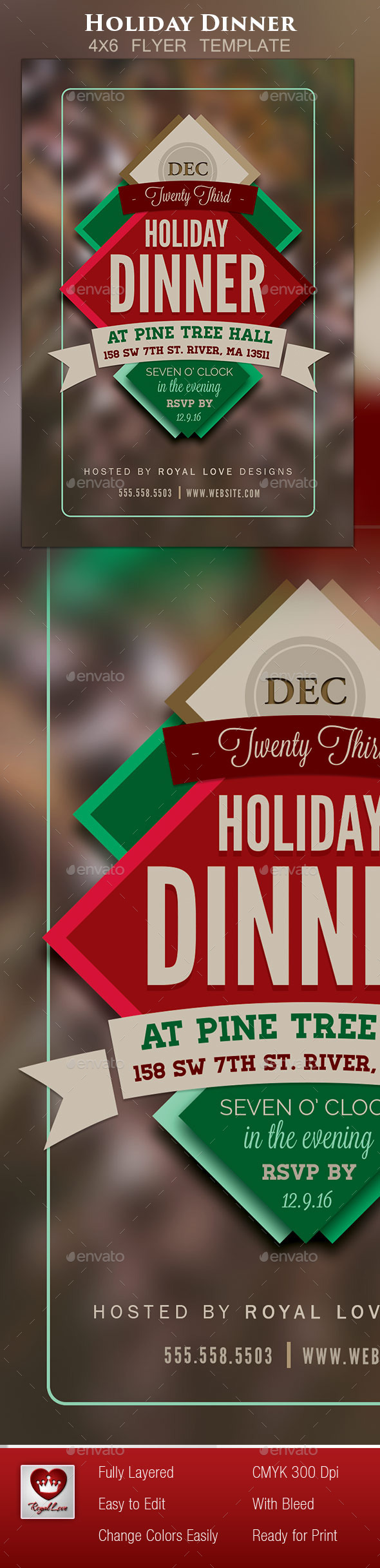 Holiday Dinner Flyer II - Holidays Events
