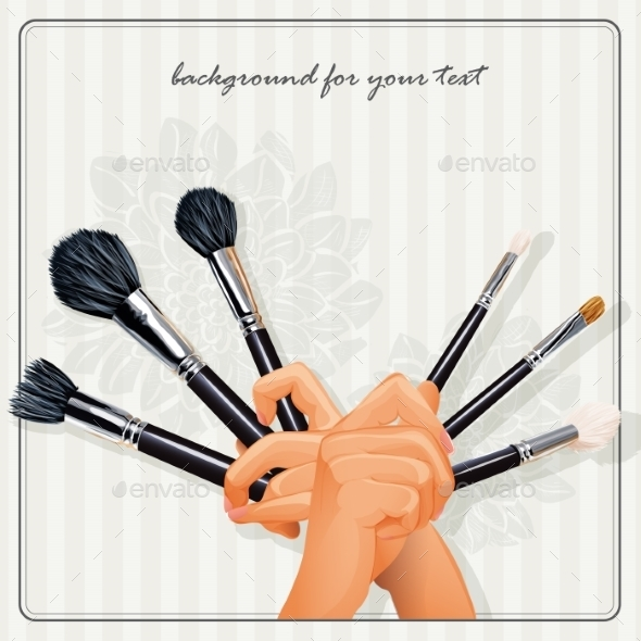 Hands Holding a Brush for Makeup - Objects Vectors