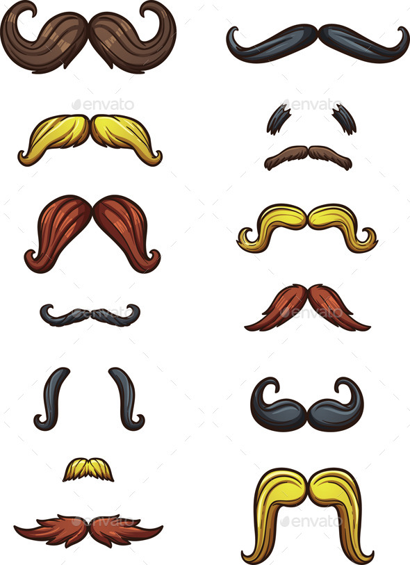 Cartoon Mustaches - Miscellaneous Vectors