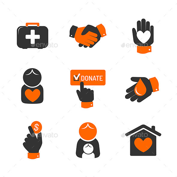 Charity and Donation Icons - Miscellaneous Vectors