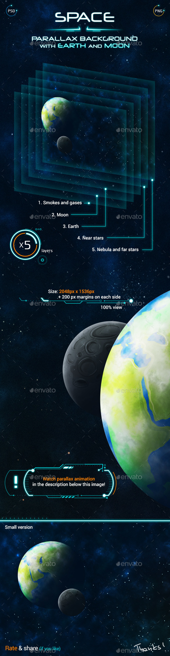 Space Parallax Background with Earth and Moon - Backgrounds Game Assets