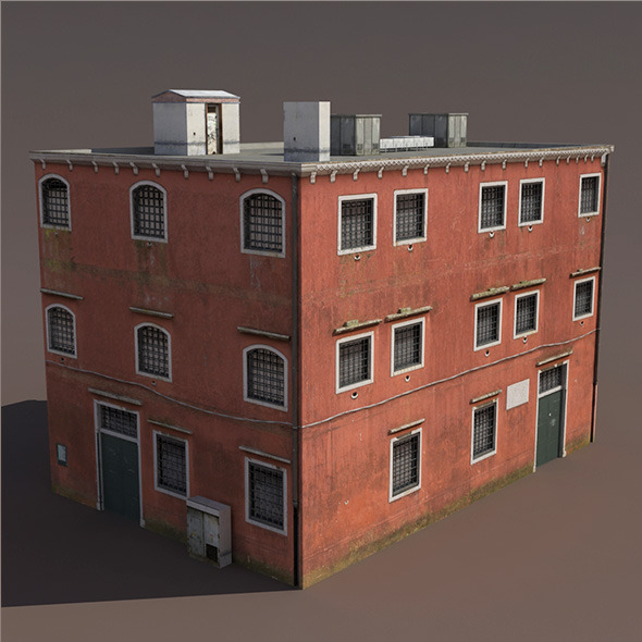 Prison Building Low Poly 3d Model - 3DOcean Item for Sale