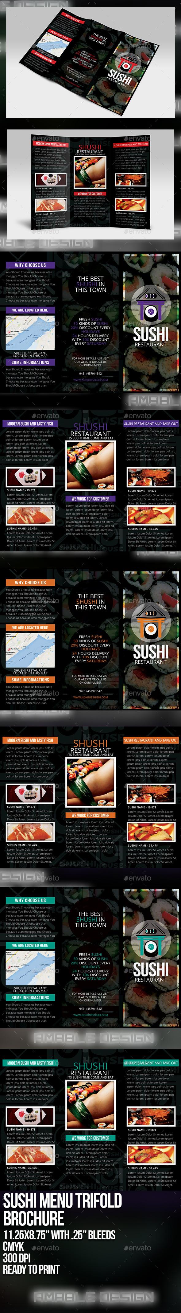Sushi Menu Tri-fold Brochure - Brochures Print Templates