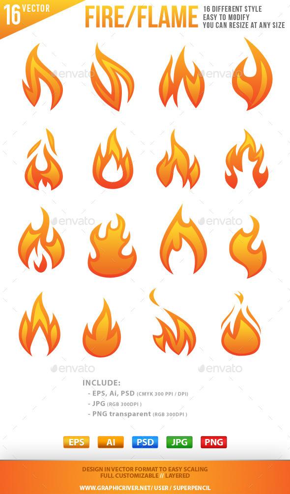 16 Fire Elements - Decorative Symbols Decorative