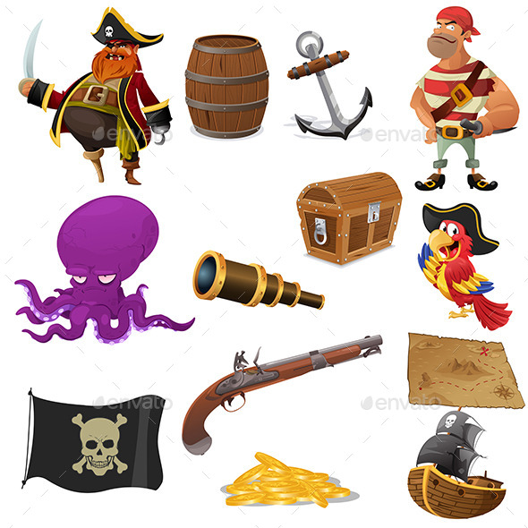 Pirate Icons - Objects Vectors