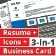3-in-1 Deal: Resume Template + Icons + Business Card, Brandeis B Template - GraphicRiver Item for Sale