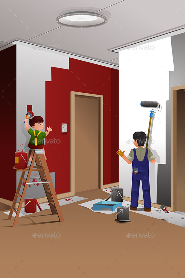 Father and Son Painting a Wall - People Characters