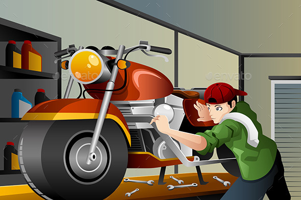 Man Fixing a Motorcycle - People Characters