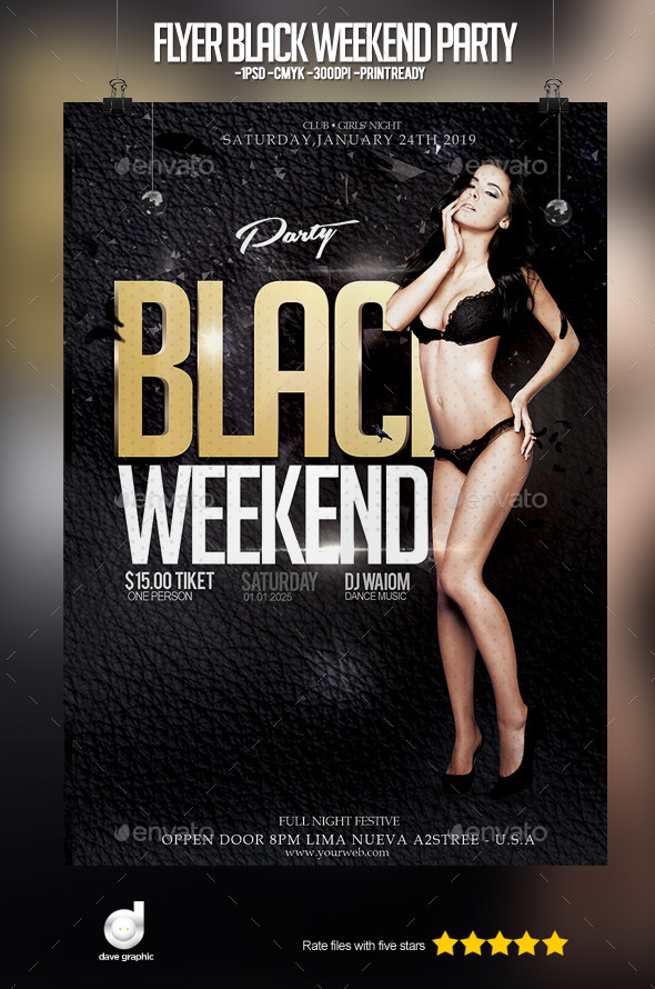Flyer Black Weekend Party - Clubs & Parties Events