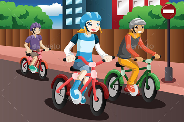 Kids Riding Bikes - Sports/Activity Conceptual
