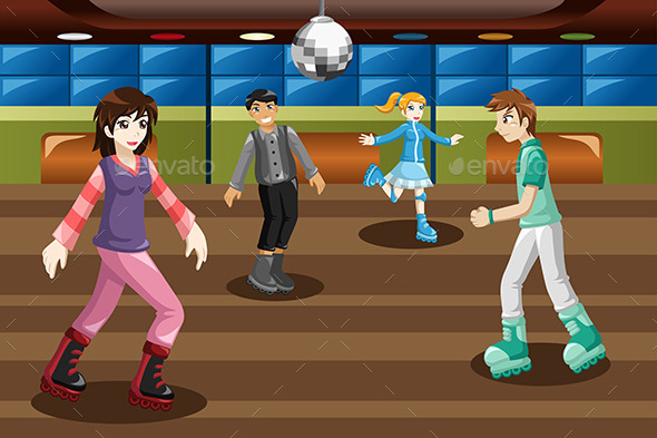 Teenagers Roller Skating in an Indoor Arena - Sports/Activity Conceptual