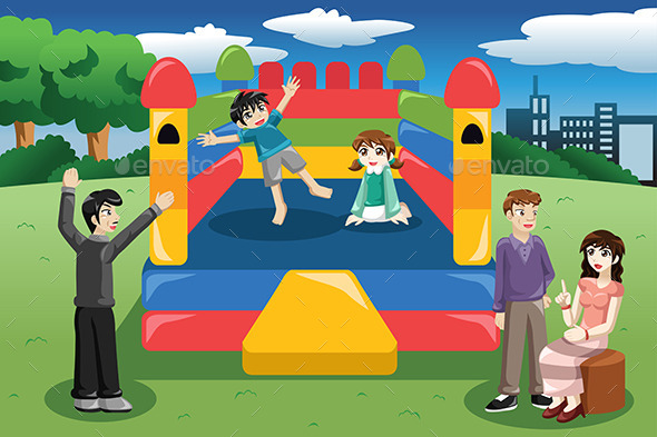 Kids Playing in a Bouncy House - Sports/Activity Conceptual
