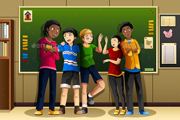 Multi-Ethnic Students in the Classroom - People Characters