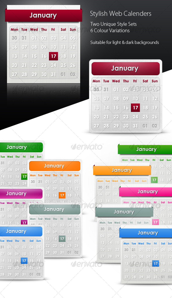 Stylish Web Calenders/ date pickers - Web Elements