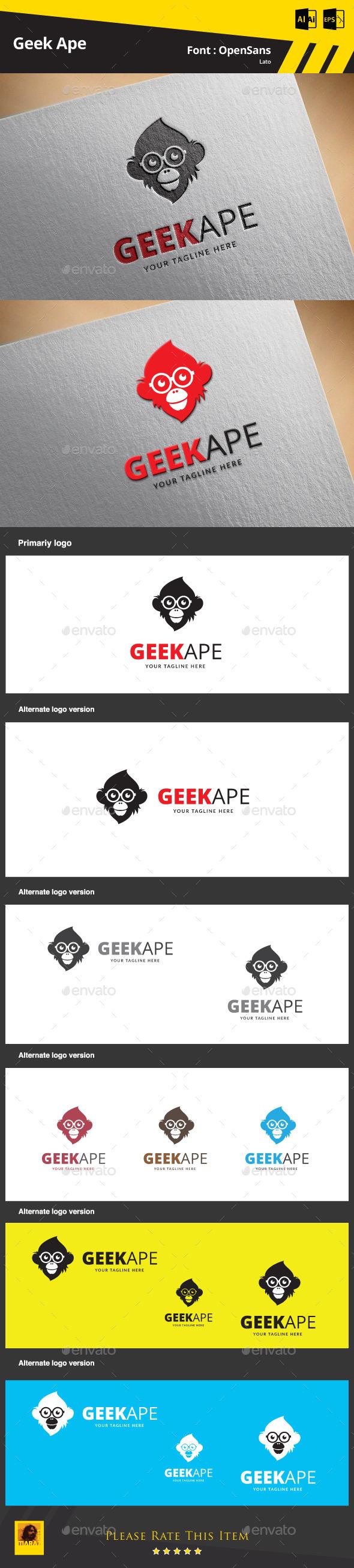 Geek Ape Logo Template - Animals Logo Templates