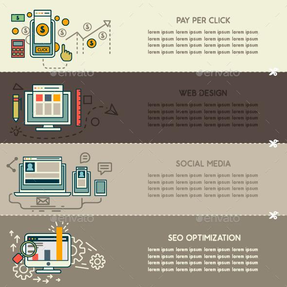 Set of Internet Technology Banners - Web Technology