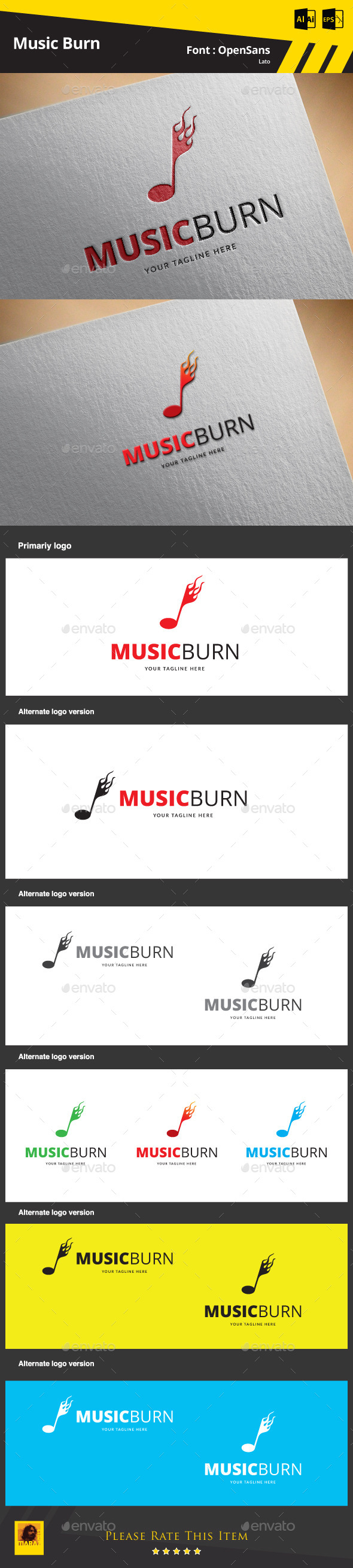 Music Burn  Logo Template - Symbols Logo Templates