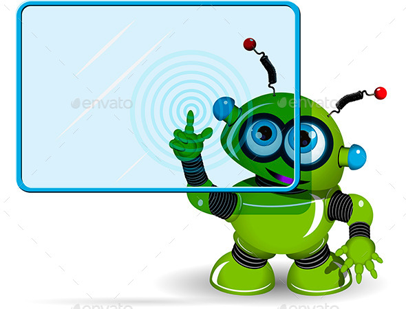 Green Robot and Screen - Communications Technology