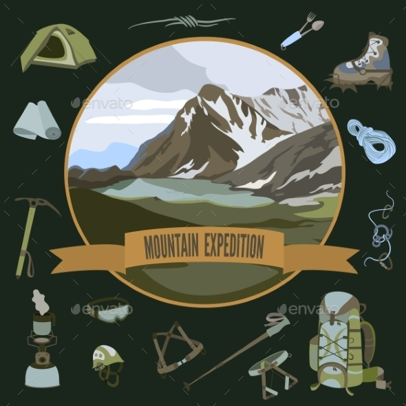 Set of Mountaineering Icons - Landscapes Nature