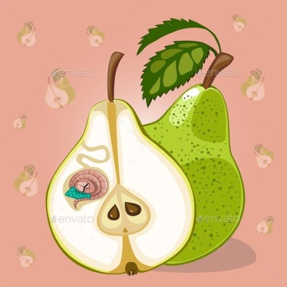 Cartoon Worm In Apple - Food Objects