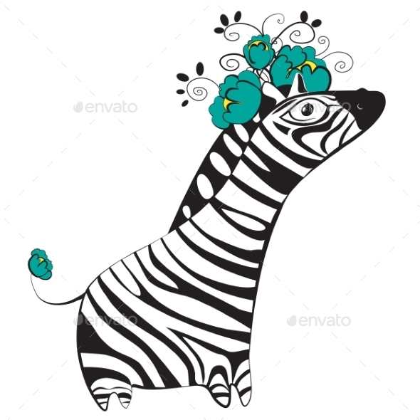 Zebra with Flowers - Animals Characters