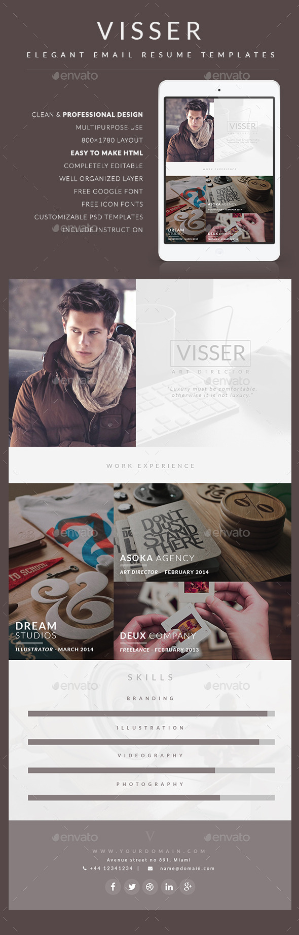 CV Email Template - Visser - E-newsletters Web Elements