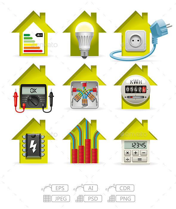 Electricity Home Icons - Technology Conceptual