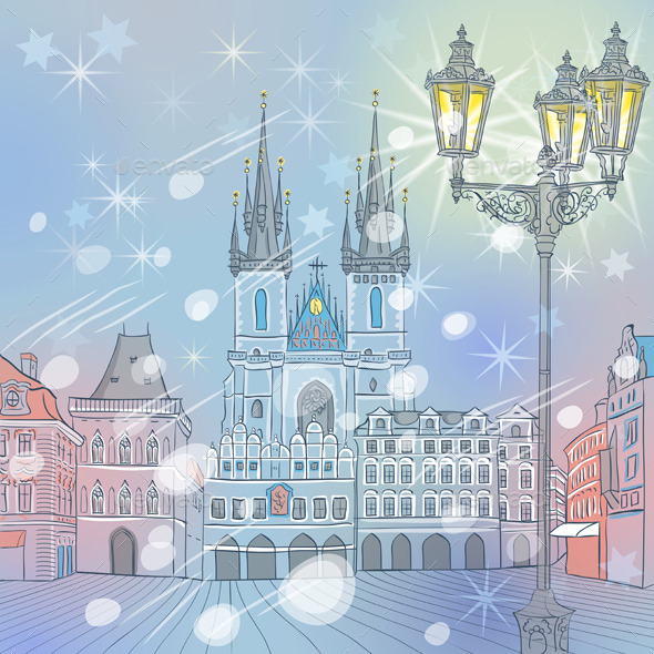 Winter Old Town Square in Prague - Travel Conceptual