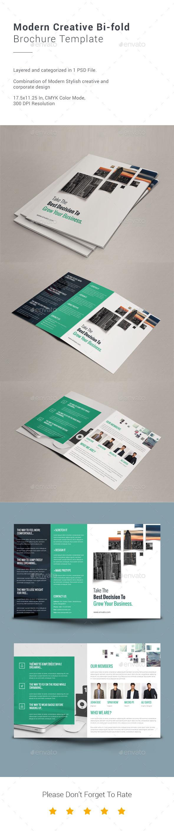 Modern Creative Bi-fold Brochure Template - Informational Brochures