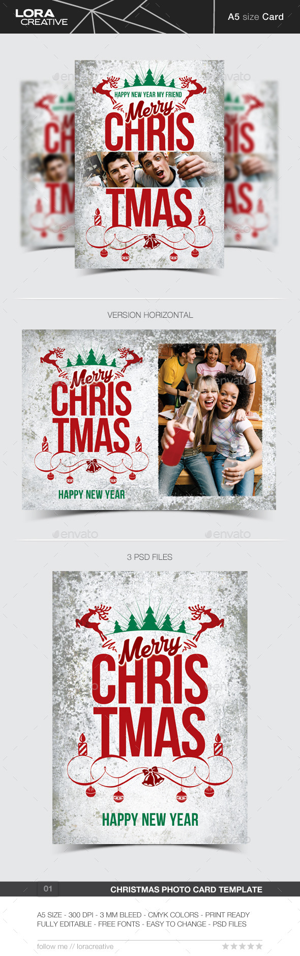Christmas Greeting Photo Card - Holiday Greeting Cards
