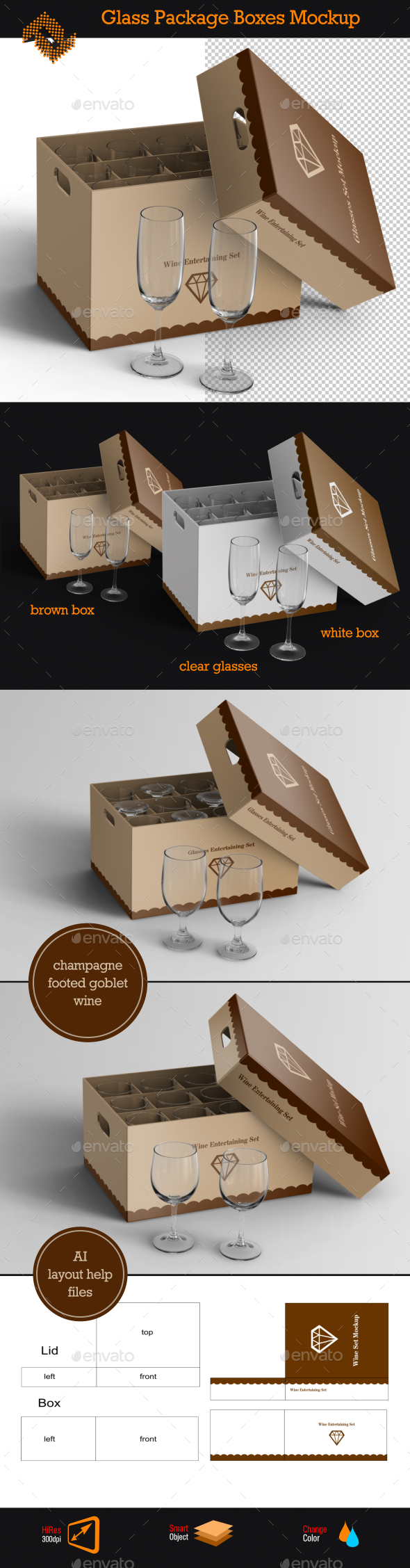 Glass Package Boxes Mockup - Packaging Product Mock-Ups