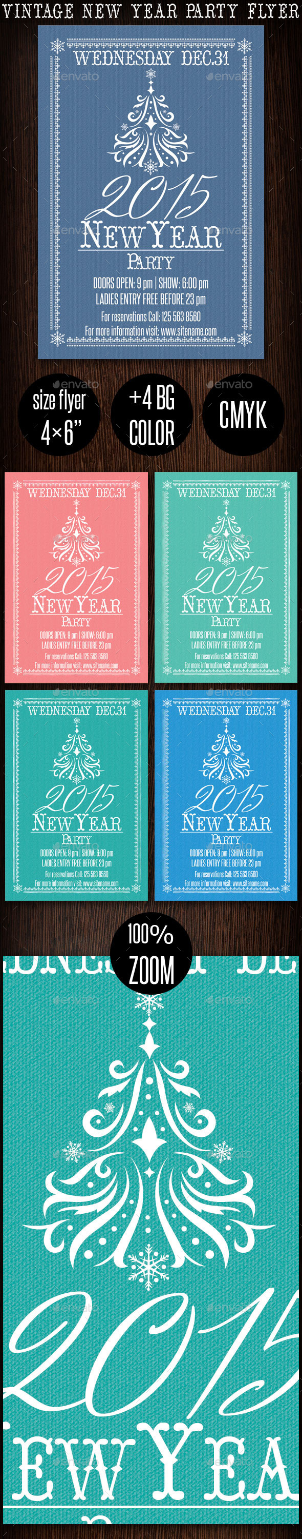 Vintage New Year Party Flyer 2015 - Clubs & Parties Events