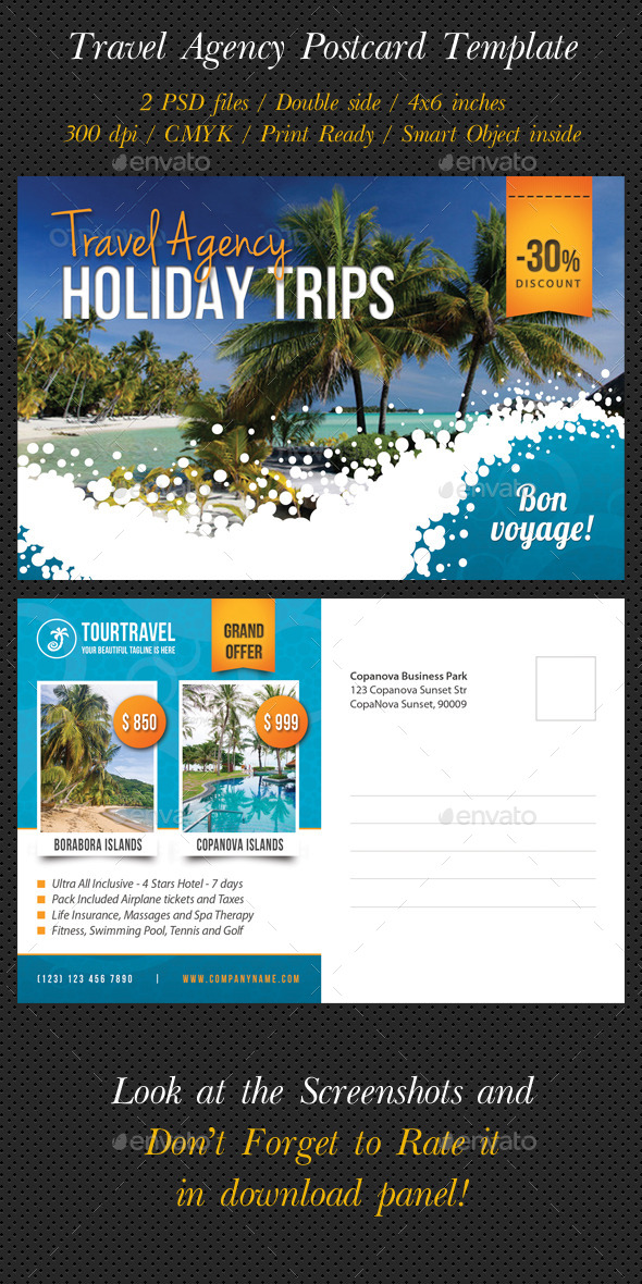 Travel Agency Postcard Template - Cards & Invites Print Templates