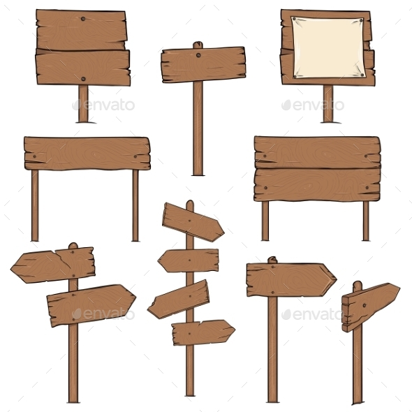 Set of Cartoon Signposts - Man-made Objects Objects