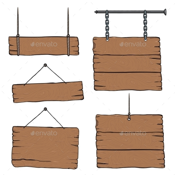 Set of Cartoon Signboards - Man-made Objects Objects