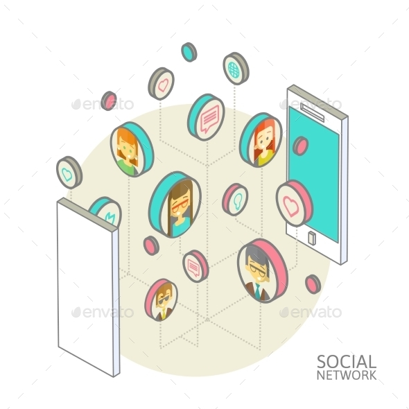 Conceptual Image with Social Networks - Technology Conceptual