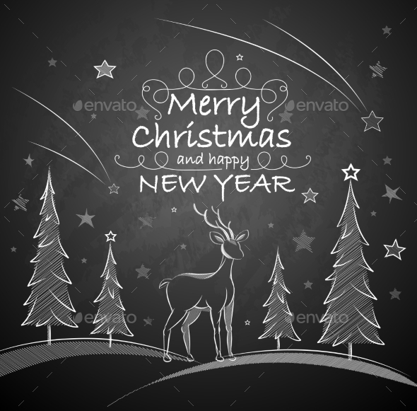 Christmas Background with Deer - Miscellaneous Seasons/Holidays