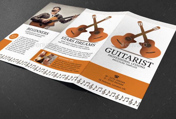 Guitar Lessons Brochure Template By Adburst  Graphicriver